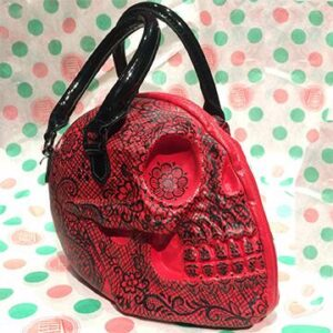Skull Show Red Lace Purse